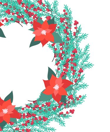 Christmas wreath of poinsettia and fir branches. Vector illustration. 일러스트