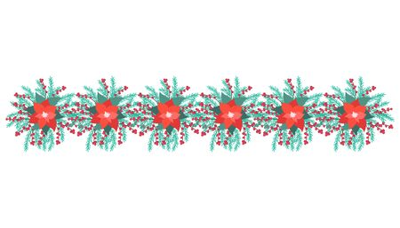 Christmas decorations with poinsettia, fir tree, holly, berries. Vector Illustration.