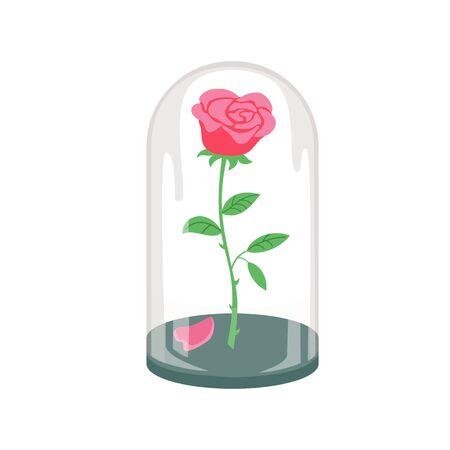 Rose en un frasco de vidrio sobre el fondo blanco. Ilustración de vector.