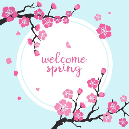 Card with cherry blossom with text 'Welcome spring'. Vector Illustration. Illustration