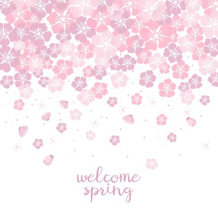 Cute background with cherry blossom with text Welcome spring. Vector Illustration. Illustration