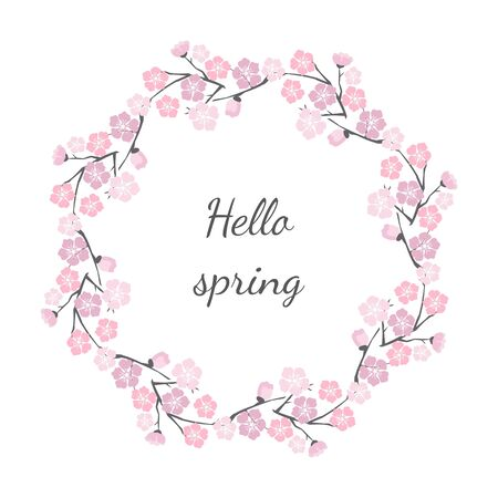 Floral frame with cherry blossom with text Hello spring. Vector Illustration.