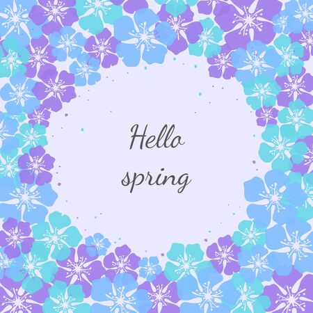Cute background with flower blossom with text Hello spring. Vector Illustration.
