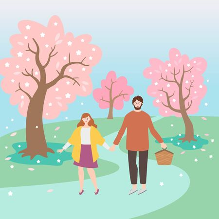Park landscape with cherry blossom and walking couple. Vector Illustration.  イラスト・ベクター素材