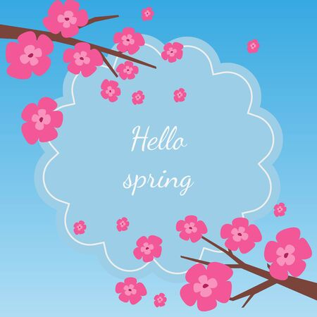 Card with cherry blossom with text Hello spring. Vector Illustration.