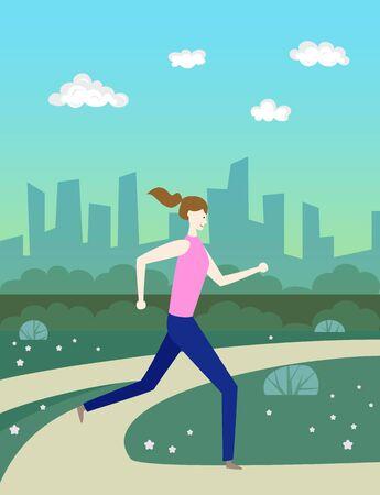 Cartoon woman  runs in park. Vector illustration. 일러스트