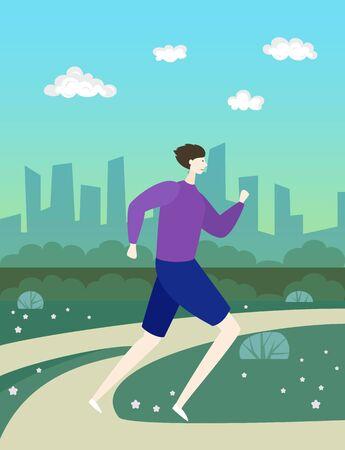 Cartoon man  runs in park. Vector illustration.