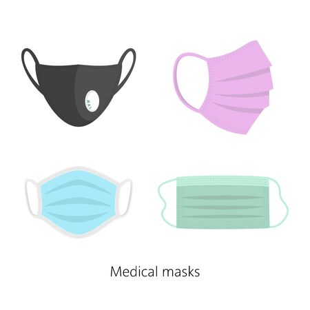 Set of safety breathing masks, breathing medical respiratory masks. Vector illustration. Vector Illustration