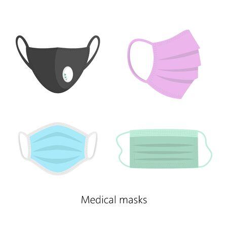 Set of safety breathing masks, breathing medical respiratory masks. Vector illustration.
