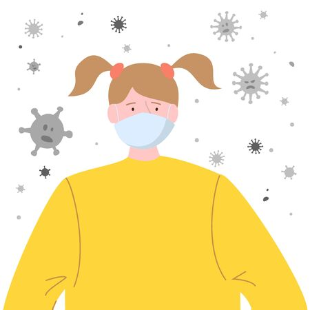 Girl with protective medical mask for prevent virus. Vector Illustration.