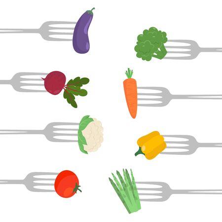 Vegetables on a forks. Healthy eating concept. Vector illustration.