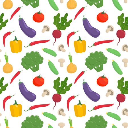 Seamless pattern with vegetables on white background. Vector illustration.