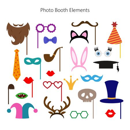 Set of different piece photo booth props. Vector illustration.