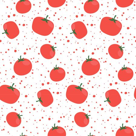 Seamless pattern with tomatoes on white background. Vector illustration.