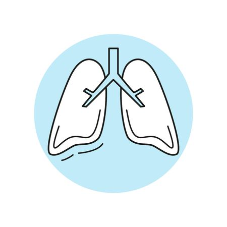 Human lungs medical icon in flat design. Vector illustration.