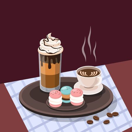 Breakfast menu with coffee and macaroons. Vector illustration.