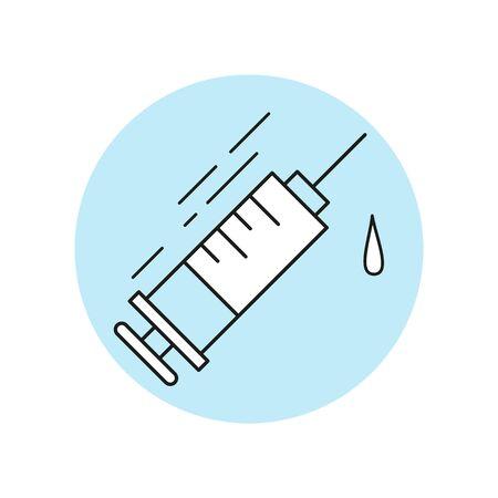 Syringe icon in flat design. Vector illustration. Ilustração