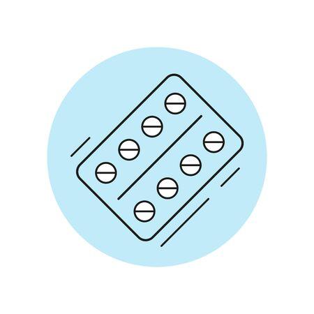 Pills icon in flat design. Vector illustration. Ilustração