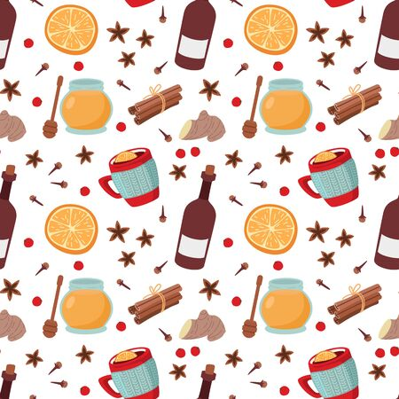 Seamless colorful pattern Mulled wine and spices. Vector illustration.