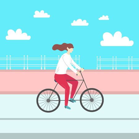 Cute girl riding a bicycle. Vector illustration. Vectores