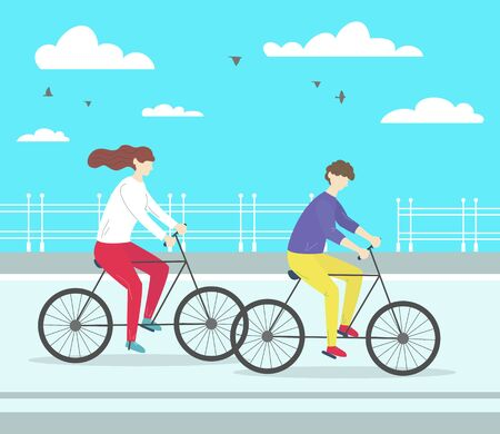 Man and woman riding bicycle. Healthy Lifestyle. Vector illustration.
