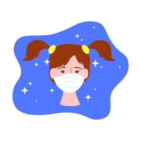 Cute girl in medical mask, healthcare concept. Vector illustration.