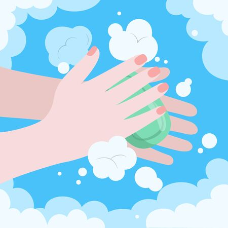 Washing hands with soap, personal daily hygiene. Vector illustration.