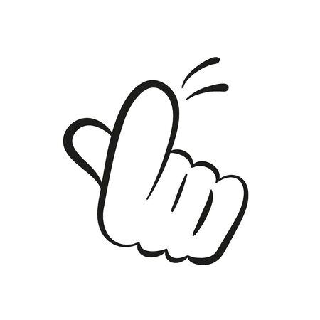 Cartoon Hand gesture, Come here. Vector illustration.