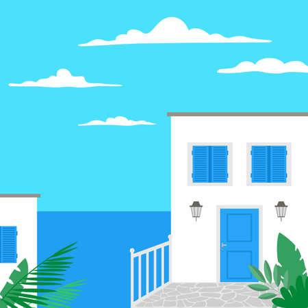 Traditional greek landscape. Tourism concept. Vector illustration. 向量圖像