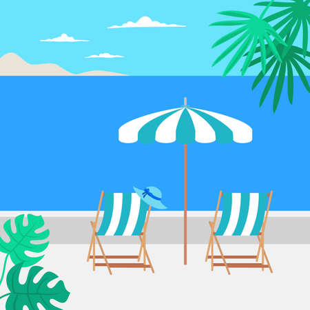Summer vacation concept with umbrella and beach chairs. Vector illustration.