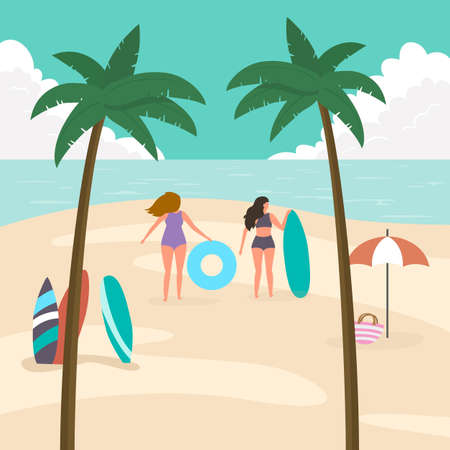 Sea panorama with palm trees and people. Tropical beach, summer background. Vector illustration.