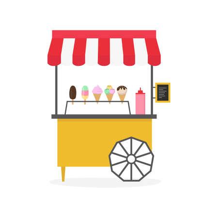 Cartoon ice cream cart, street food. Vector illustration.