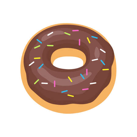 Cartoon donut with glaze, donut icon. Vector illustration.
