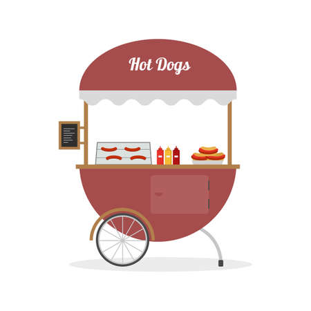 Cartoon hot dog cart, street food. Vector illustration. Ilustração