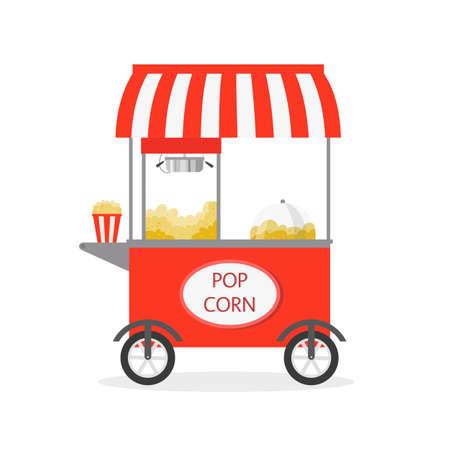 Cartoon Popcorn cart, street food. Vector illustration. Ilustração