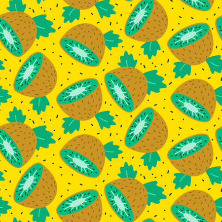 Seamless cute pattern with kiwi. Vector illustration.