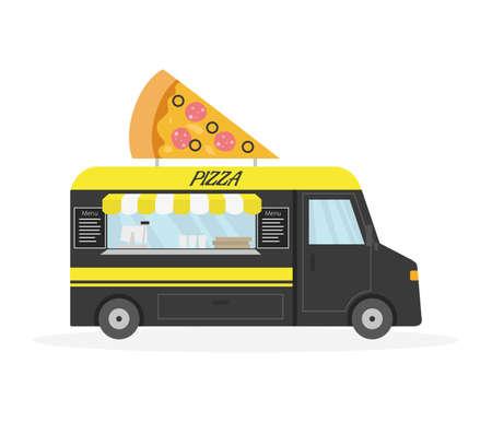Cartoon Pizza trailer, street food. Vector illustration.