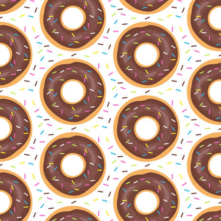 Seamless cute pattern with donuts. Vector illustration.