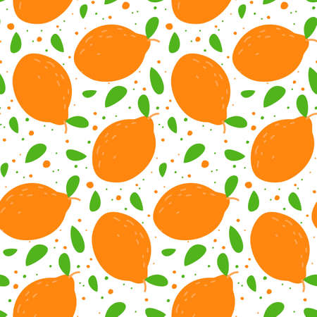 Seamless cute pattern with lemons. Vector illustration.