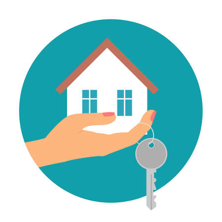 Hand holding house in palm and key on finger. Vector illustration. Ilustração