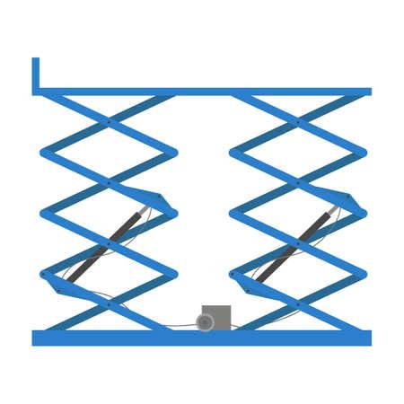 Scissors lift platform, isolated on white background. Vector illustration.