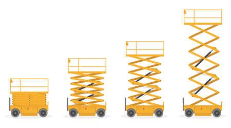 Set of Scissors lift platform, isolated on white background. Vector illustration.