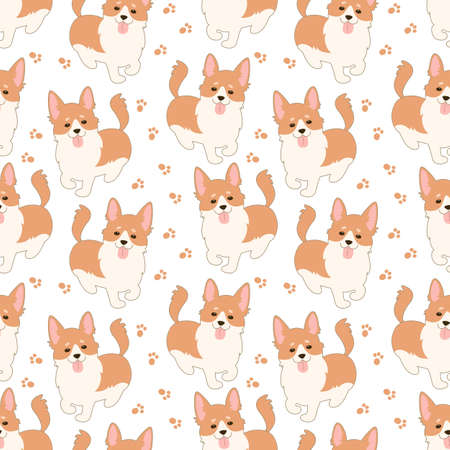 Seamless pattern with Cute welsh corgi. Vector illustration.