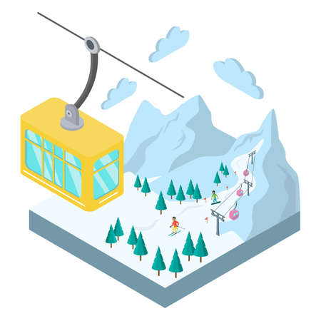 Isometric landscape of ski resort. Vector illustration.