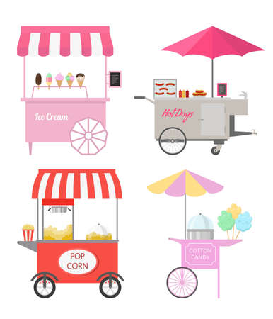 Set of different street food carts. Vector illustration.