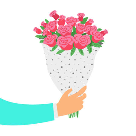 Man holds a bouquet of roses. St. Valentine's day and Women's Day concept. Vector illustration.