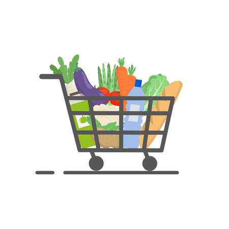Grocery shopping cart, supermarket food basket. Vector illustration.