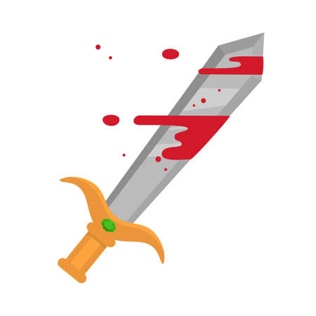 Cartoon metal sword with blood on white background. Vector illustration.