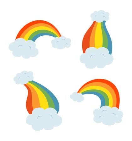 Set of rainbows with clouds. Vector illustration Ilustração