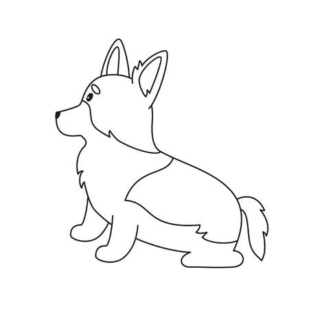 Cartoon welsh corgi on white background. Vector illustration.